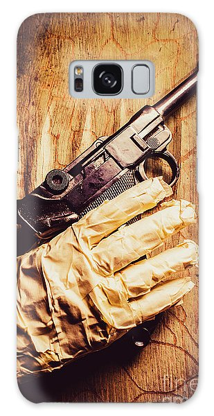 Guns Galaxy Case - Undead Mummy  Holding Handgun Against Wooden Wall by Jorgo Photography - Wall Art Gallery