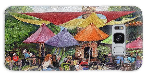 Galaxy Case featuring the painting Under The Umbrellas At The Cartecay Vineyard - Crush Festival  by Jan Dappen