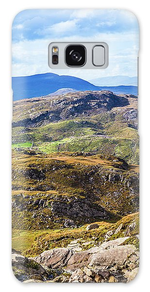 Undulating Green, Purple And Yellow Rocky Landscape In  Ireland Galaxy Case by Semmick Photo