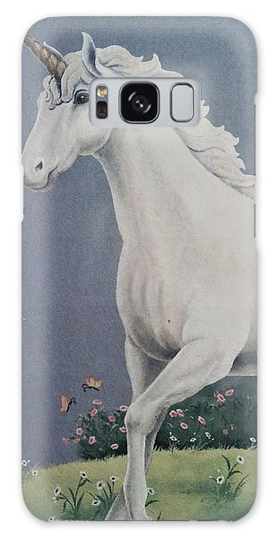 Unicorn Roaming The Grass And Flowers Galaxy Case