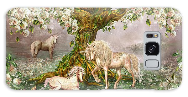 Galaxy Case featuring the mixed media Unicorn Rose Tree by Carol Cavalaris