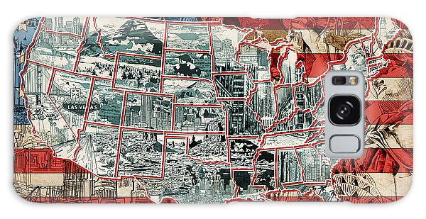 United States Drawing Collage Map 6 Galaxy Case