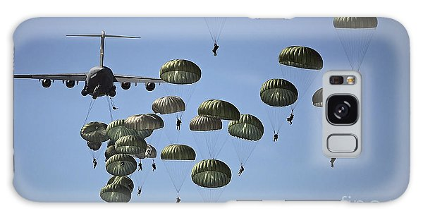 Galaxy Case featuring the photograph U.s. Army Paratroopers Jumping by Stocktrek Images