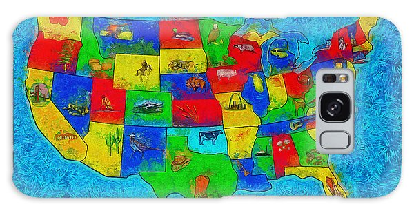 Us Map With Theme  - Special Finishing -  - Pa Galaxy Case