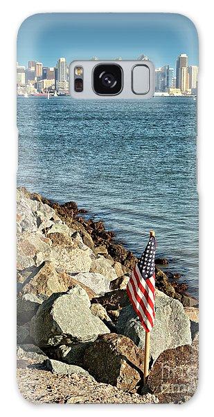 Usa Flag And San Diego Skyline Galaxy Case