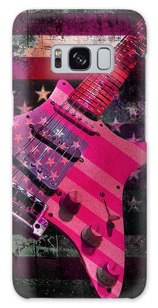 Galaxy Case featuring the digital art Usa Pink Strat Guitar Music by Guitar Wacky