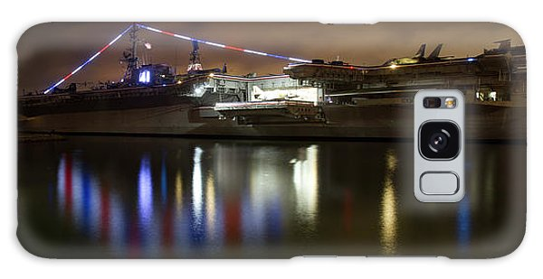 Galaxy Case featuring the photograph Uss Midway At Night by Nathan Rupert