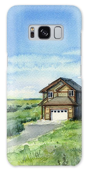 Dunes Galaxy Case - Vacation House In A Field - Watercolor - Long Beach, Wa by Olga Shvartsur