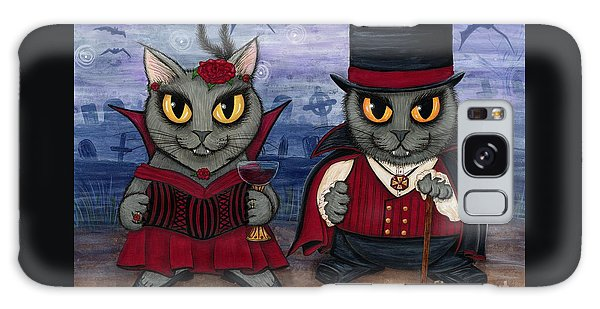 Vampire Cat Couple Galaxy Case by Carrie Hawks