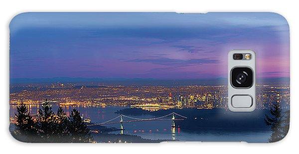 Vancouver Bc Cityscape Lions Gate Bridge Sunset Galaxy Case