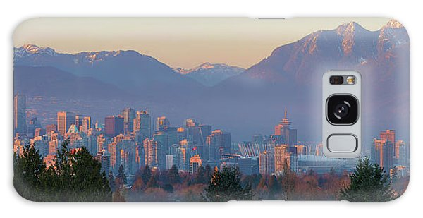 Vancouver Bc Downtown Cityscape At Sunset Panorama Galaxy Case