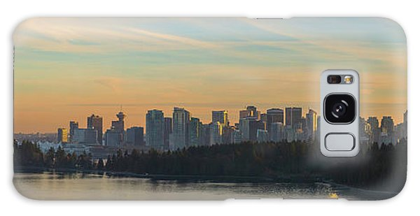 Vancouver Bc Skyline Along Stanley Park At Sunset Galaxy Case
