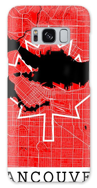 Vancouver City Galaxy Case - Vancouver Street Map - Vancouver Canada Road Map Art On Canada Flag Symbols by Jurq Studio