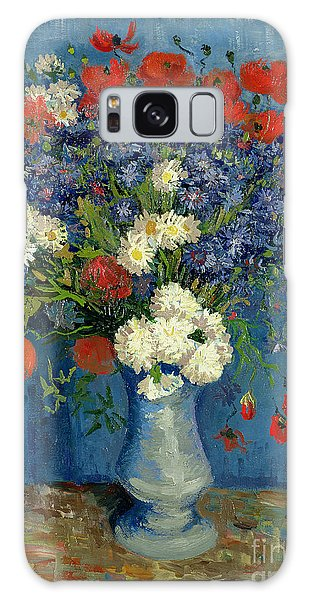 Vase With Cornflowers And Poppies Galaxy Case