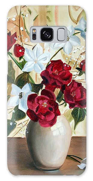 Vase With Red And White Flowers Galaxy Case