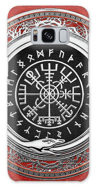 Vegvisir - A Silver Magic Viking Runic Compass On Red Leather  Galaxy Case