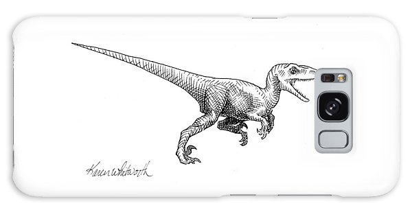 Velociraptor - Dinosaur Black And White Ink Drawing Galaxy Case