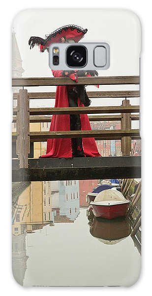 Venetian Lady On Bridge In Burano Galaxy Case