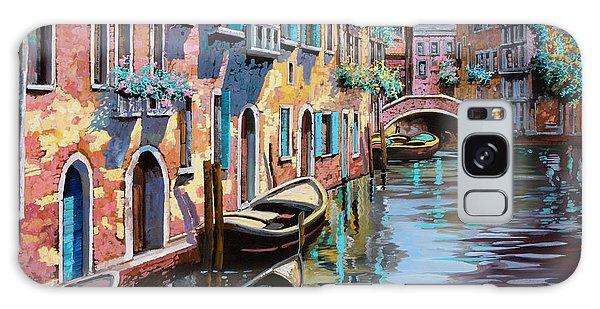 Docked Boats Galaxy Case - Venezia In Rosa by Guido Borelli