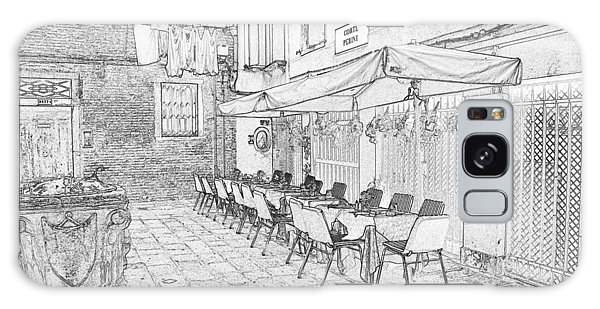 Galaxy Case - Venice Cafe Pen And Ink 4482 by Bob Neiman