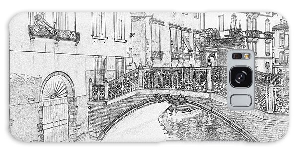 Galaxy Case - Venice Canal And Bridge Pen And Ink 4474 by Bob Neiman