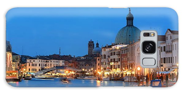 Galaxy Case featuring the photograph Venice Canal Night Panorama by Songquan Deng