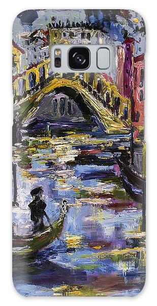 Venice Rialto Bridge Gondolier Oil Painting  Galaxy Case