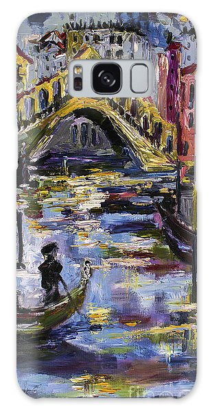 Venice Rialto Bridge Gondolier Oil Painting  Galaxy Case