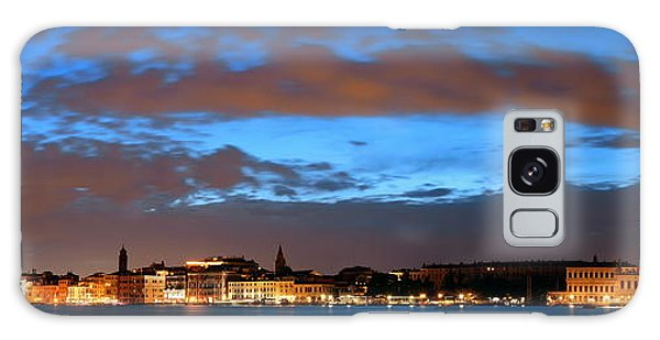 Galaxy Case featuring the photograph Venice Skyline Night Panorama View by Songquan Deng