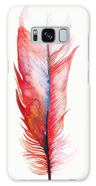 Feathers Galaxy Case - Vermilion Feather by Willow Heath