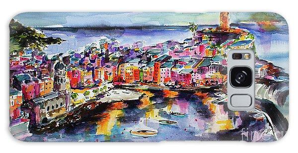 Vernazza Twilight Cinque Terre Watercolors Galaxy Case