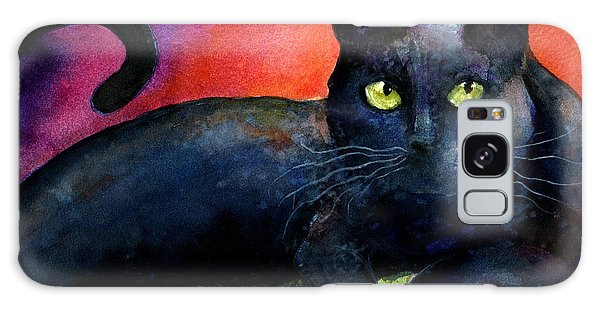 Vibrant Black Cat Watercolor Painting  Galaxy Case