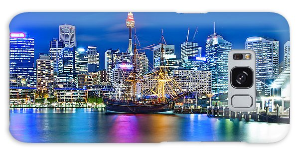 Sydney Skyline Galaxy Case - Vibrant Darling Harbour by Az Jackson