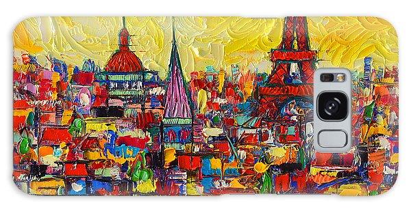 Vibrant Paris Abstract Cityscape Impasto Modern Impressionist Palette Knife Oil Ana Maria Edulescu Galaxy Case