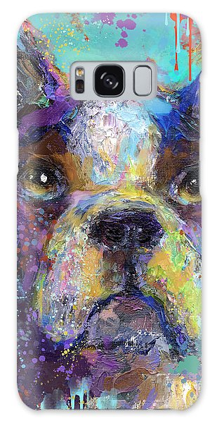 Vibrant Whimsical Boston Terrier Puppy Dog Painting Galaxy Case