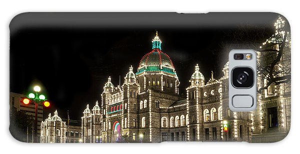 Victoria Parliament Buildings At Night At Christmas Galaxy Case by Maria Janicki
