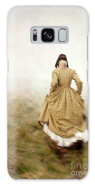 Victorian Woman Running On The Misty Moors Galaxy Case