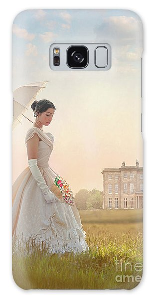 Victorian Woman With Parasol And Fan Galaxy Case