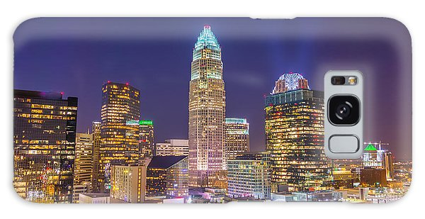 View Of Charlotte Skyline Aerial At Sunset Galaxy Case