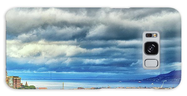 Galaxy Case featuring the photograph View Of Messina Strait Sicily With Dramatic Sky by Silvia Ganora