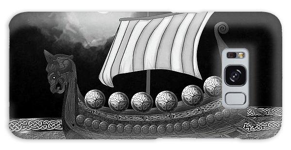 Galaxy Case featuring the digital art Viking Ship_bw by Megan Dirsa-DuBois