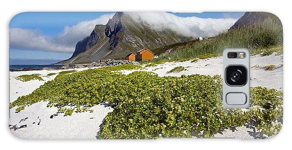 Vikten Beach With Green Grass, Mountains And Clouds Galaxy Case