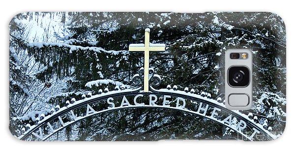 Villa Sacred Heart Winter Retreat Golden Cross Galaxy Case by John Stephens