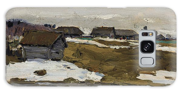 Russian Impressionism Galaxy Case - Village By The Water In Winter by Valentin Serov