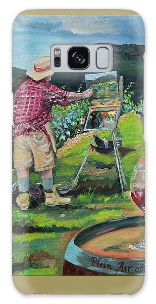 Galaxy Case featuring the painting Vineyard Plein Air Painting - We Paint With Wine by Jan Dappen
