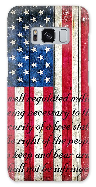Vintage American Flag And 2nd Amendment On Old Wood Planks Galaxy Case