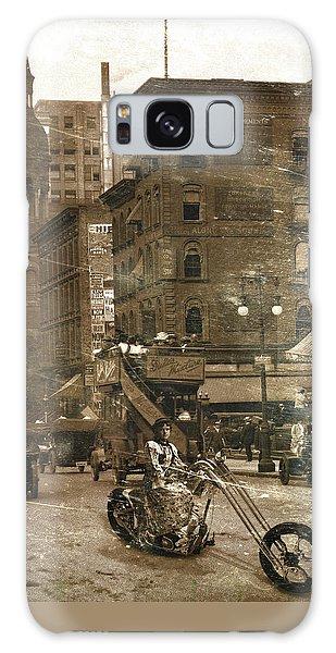 Vintage Bike Lady Galaxy Case