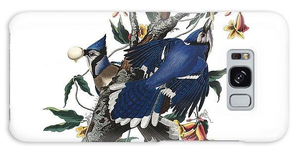 Galaxy Case featuring the digital art Vintage Blue Jays Audubon by Joy McKenzie