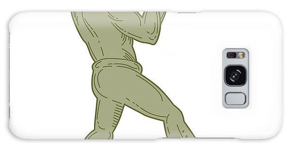 Sportsman Galaxy Case - Vintage Boxer Fighting Stance Mono Line by Aloysius Patrimonio