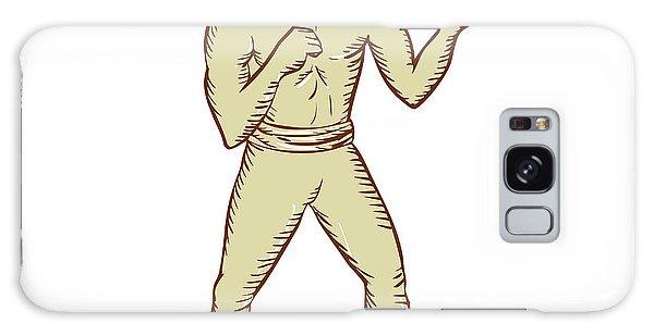 Sportsman Galaxy Case - Vintage Boxer Pose Etching by Aloysius Patrimonio
